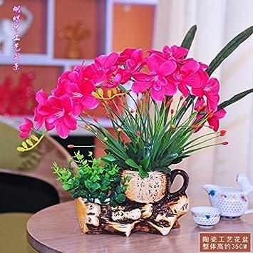 Usdfjn Fleur Artificielle Faux Rouge Decoration Vase Amazon Fr