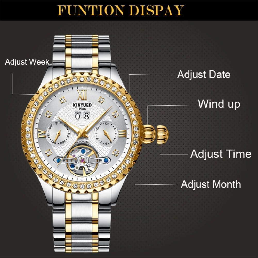 TXGIRWAO Orologio meccanico da uomo in oro con tourbillion Skeleton Watch da uomo Orologio da polso automatico da uomo in acciaio pieno White With Box