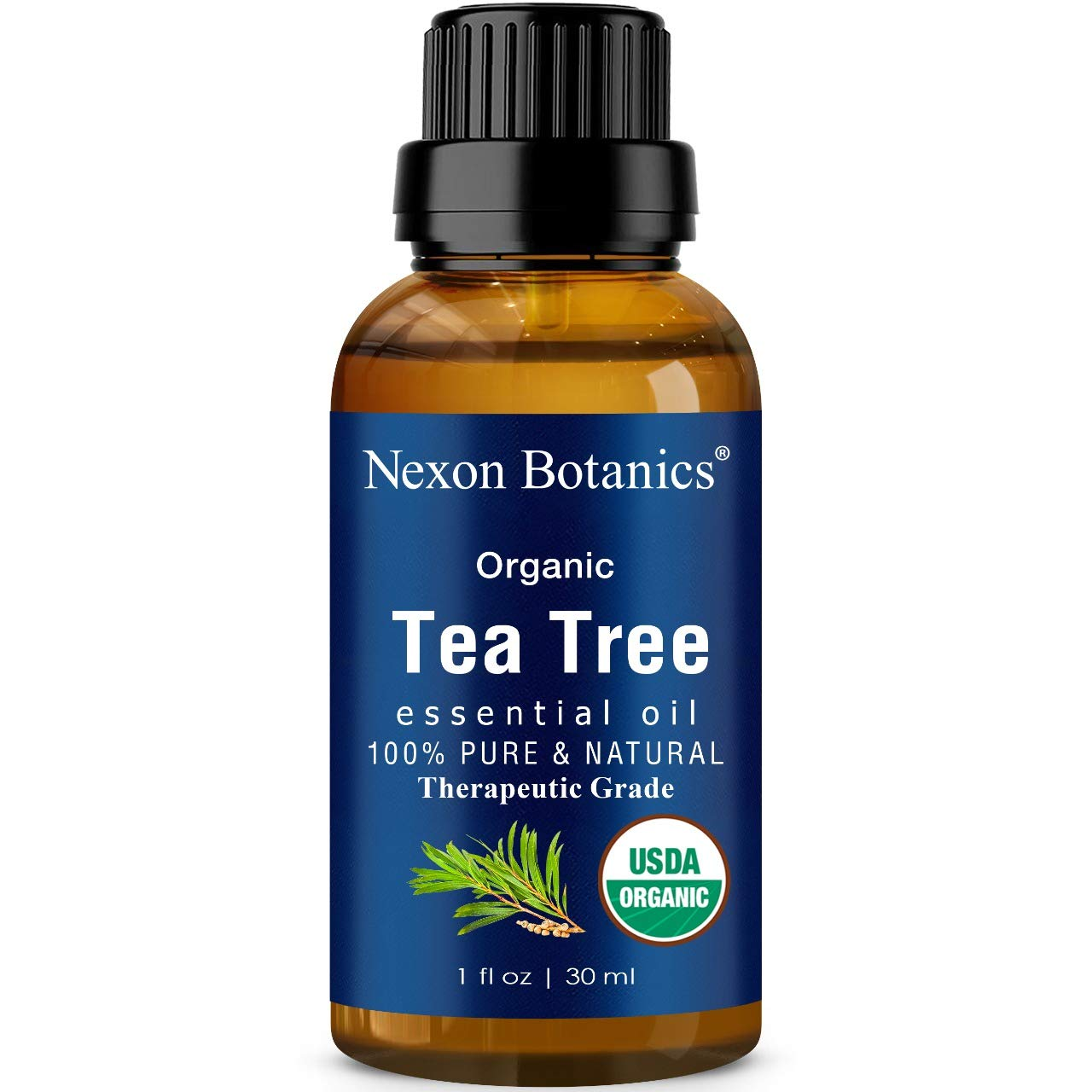 Organic Tea Tree Essential Oil 30 ml - Certified USDA, Pure, Natural Undiluted Therapeutic Grade Tea Tree Oil For Hair, Face, Skin, Acne and Scalp - Melaleuca Alternifolia Oils Nexon Botanics