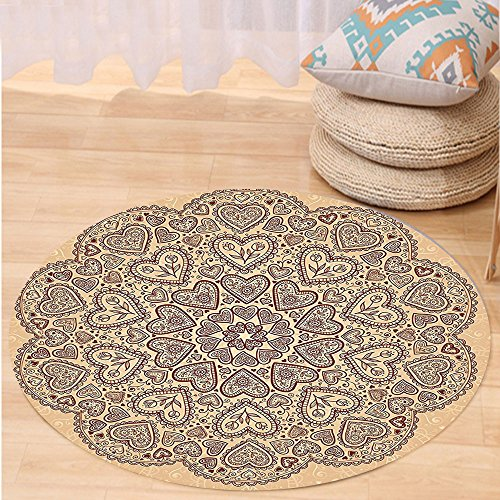 - VROSELV Custom carpetBeige Decor Ethnic Heart And Tulip Motifs Antique Floral Oriental Asian Vintage Styled Chic Bedroom Living Room Dorm Decor Chocolate Beige Round 24 inches