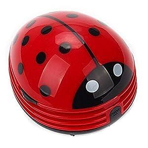 Aimeio Cute Portable Beetle Ladybug Mini Handheld Cordless Tabletop Crumb Sweeper Desktop Keyboard Dust Vacuum Cleaner,Battery Operated