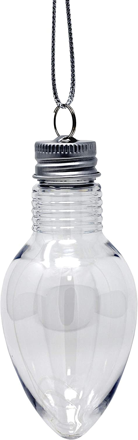 Creative Hobbies 4 Inch Fillable Light Bulb Shape Clear Plastic Christmas Ornaments with Screw Off Caps -Great for DIY Crafts, Candy -Bulk Pack of 24