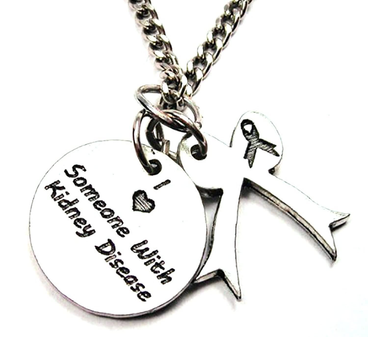 """I Love Someone with Kidney Disease Awareness 18"""" Fashion Necklace"""