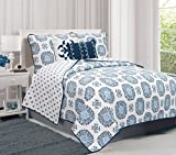 Filigree Collection 5-Piece Quilt Set with Shams & Decorative Pillows. Super Soft Microfiber Material Featuring a Unique & Beautiful Printed Design. By Home Fashion Designs. (Full/Queen, Navy)