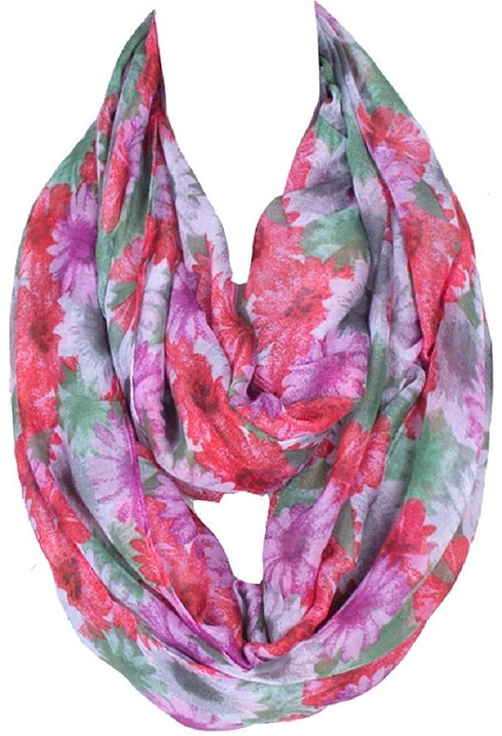 Bettyhome Women's Infinity Loop Scarf Chevron Sheer Fashion Big Flower Pattern Shawl 70.87 inch x 35.43 inch