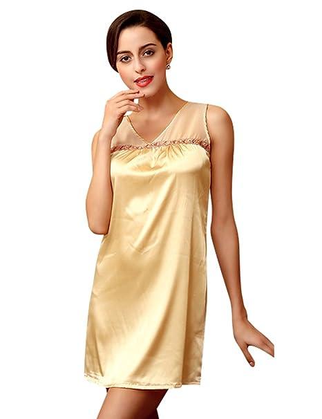 Menschwear Mujer Camisas de Dormir Camisas de Noche de Satén Chemises Camisas Serie Pijamas (Dorado