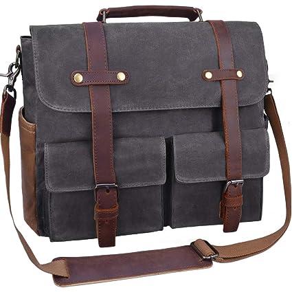 039a32c540 Laptop Messenger Bag for Men 15.6 Inch Waterproof Vintage Waxed Canvas  Briefcase Genuine Leather Satchel Shoulder