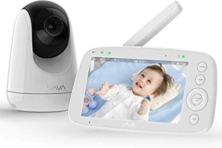 "Baby Monitor, VAVA 5"" 720P HD Display Video Baby Monitor with Camera and Audio, IPS Screen, 1000ft Range, 4500 mAh Battery, Two-Way Audio, One-Click Zoom, Night Vision and Thermal Monitor (AU Plug)"
