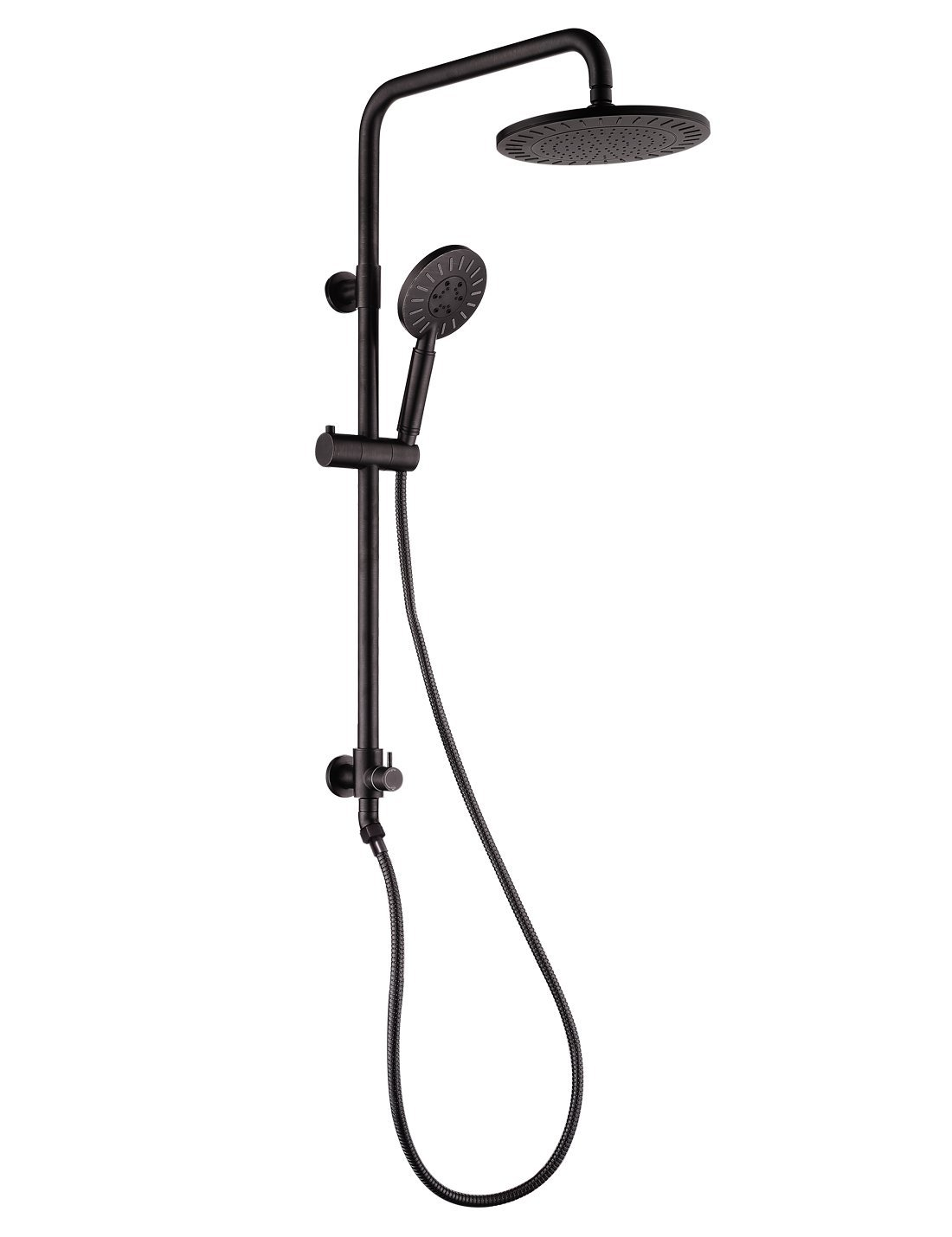 Rain Shower System with Rain Shower Head and 3 Spray Setting Handheld Shower Combo Set 5 ft stainless steel hose Adjustable Slide Bar Shower Elbow Included Oil Rubbed Bronze