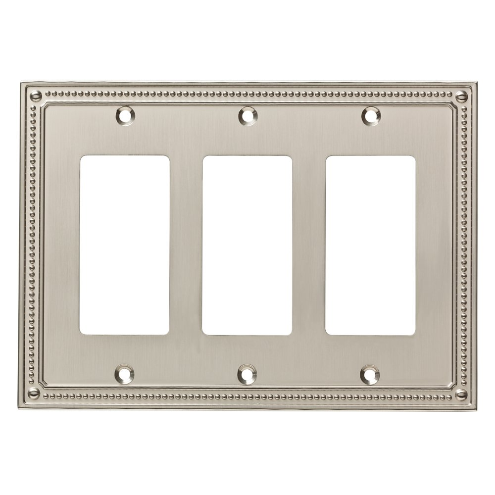 Franklin Brass W35067-SN-C Classic Beaded Triple Decorator Wall Plate/Switch Plate/Cover, Satin Nickel by Franklin Brass