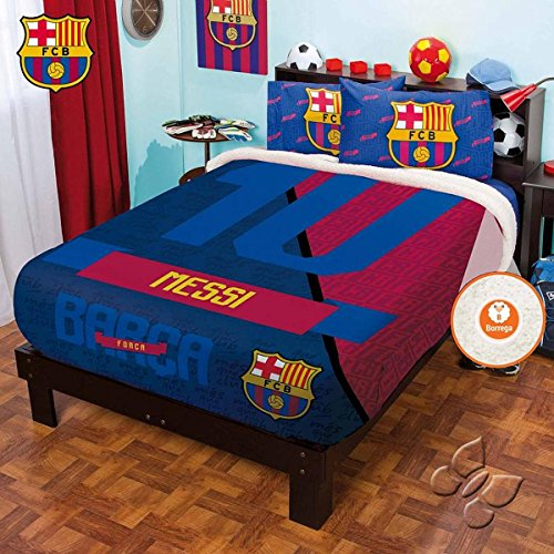 Bedspread Club Barcelona Fleece Fuzzy Messy FULL/MAT Sheets Set 5PC Sports Football LIMITED EDITION