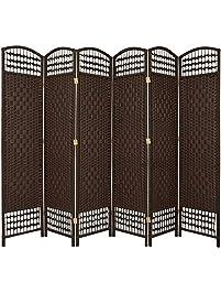 Oriental Furniture 5 1 2 Ft Tall Fiber Weave Room Divider Darkmocha