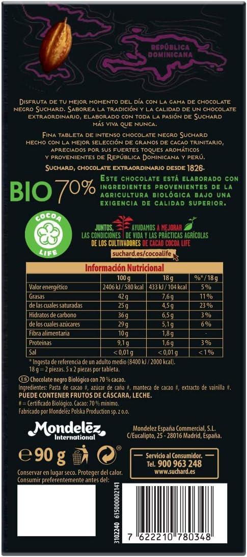 Suchard - Chocolate Negro Bio Ecológico, 70% de Cacao Trinitario - Tableta de 150 g: Amazon.es: Alimentación y bebidas