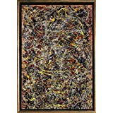 Startonigh Luxury Framed Art Bronze Jackson Pollock No. 5 Reproduction Dual View Surprise 19.69 Inch By 27.56 Inch Famous Collection Wall Art