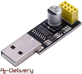 AZDelivery USB a ESP8266 01 Serial Wireless WiFi Modulo para ESP ...