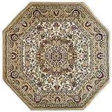 Cheap Bellagio Traditional Octagon Area Rug Design 401 Beige (4 Feet x 4 Feet)