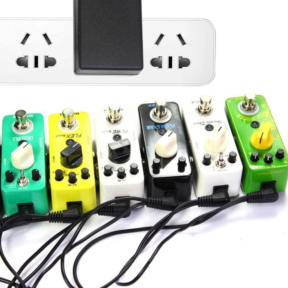 Guitar Pedal 9V 2A AC DC Adapter Cable Cord with 5 Way Daisy Chain Cable Fit for Most 9V tip Negative Guitar Pedals and Other Electronics 10FT