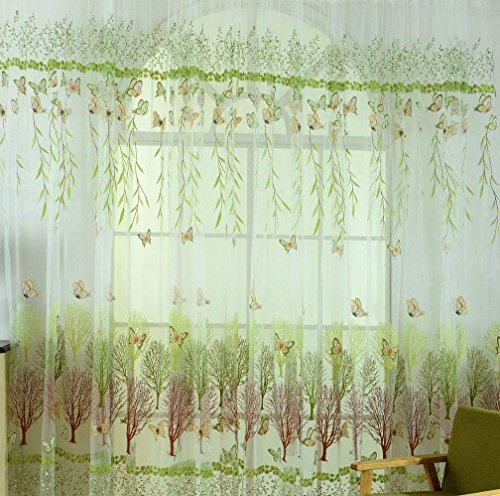 BROSHAN Voile Tulle Room Window Curtain, Garden Willow Tree Butterfly Sheer Curtain for Living Room Kitchen Window Treatment Gauze,1 Panel