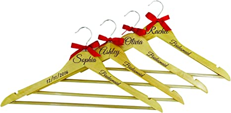 personalized gift wedding hangers wooden hangers Personalized hangers bridal party gift bridesmaid gifts maid of honor gift