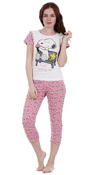 ecb15c786f For You - Pijama Snoopy de dos piezas de verano para mujer Pijama con  pantalón y manga corta de Mickie y Minnie para niña  Amazon.es  Ropa y  accesorios