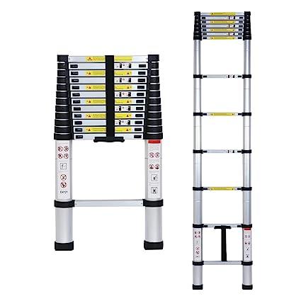 Inditradition Ultra-Stable Telescopic Ladder, Folding Step Ladder, Aluminium, 3.8 Meter (12.5 Feet) Height