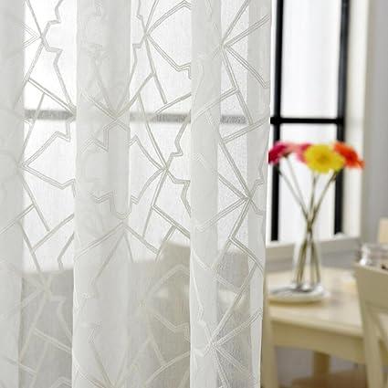 1 pezzo bianco ricamato voile tende camera da letto tende ...