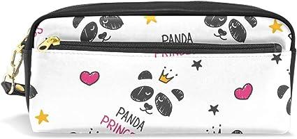 Panda Princesa con Corona Estuche Portatodo Estuche Estuche Bolso de Lápices Cuero con Compartimentos para Niños Escolar Mujeres Cosméticos Bolsas Pequeñas: Amazon.es: Oficina y papelería