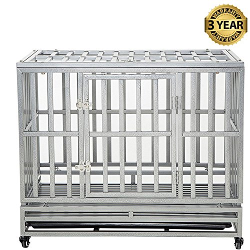 LUCKUP Heavy Duty Dog Cage Strong Metal Kennel and Crate for Medium and Large Dogs, Pet Playpen with Four Wheels,Easy to Install,38 inch,Silver …