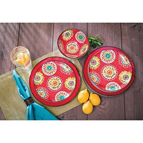 - 18 Piece Melamine Dinnerware Set Medallion Pattern (Red)