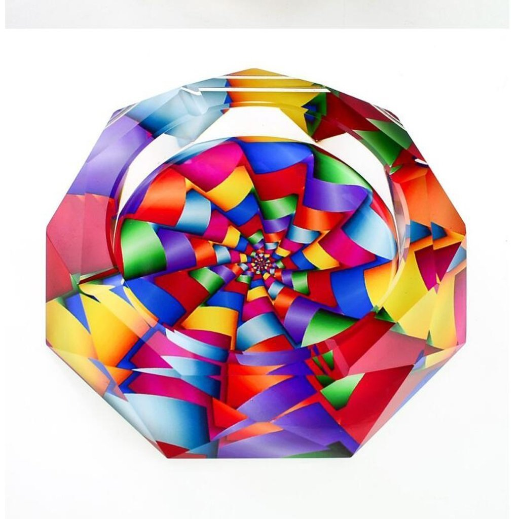 FACAIG 3D colorful color print style glass crystal ashtray fashion creative personality gifts Lounge with the smoke (Size: 18184 cm).