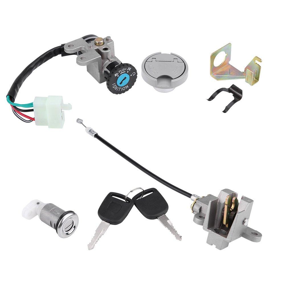 Qii lu1 Set 5Pin Plug 2 Keys Ignition Switch Key Lock Gas Tank Cap Set for Gy6 50cc, 150cc Scooters(Moped),JONWAY/TAOTAO/ROKETA
