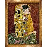 overstockArt Gustav Klimt El beso de 30 pulgadas por 40 pulgadas enmarcado óleo sobre lienzo, vista completa