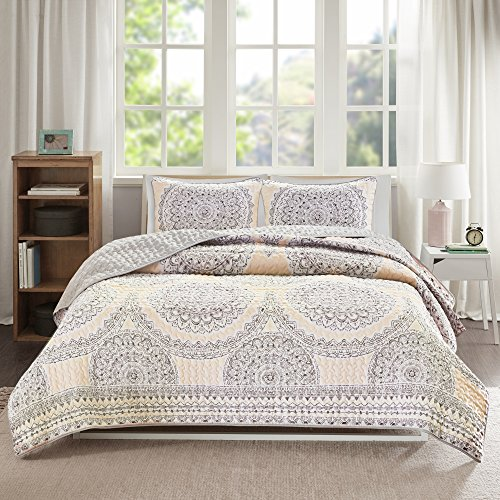 Bedding Sets Twin & Twin Xl - Quilt/Coverlet Set - 2 Pieces - Blush/Pink/Grey - Printed Medallions - Lightweight Twin Size Bedding Sets For Girls - Bedspread Fits Twin & Twin Xl - Adele by Comfort Spaces (Image #1)