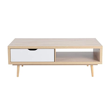 Furniturer Modern Coffee Table Wood Occsional Living Room Table Tv Stand Table With Storage Shelves