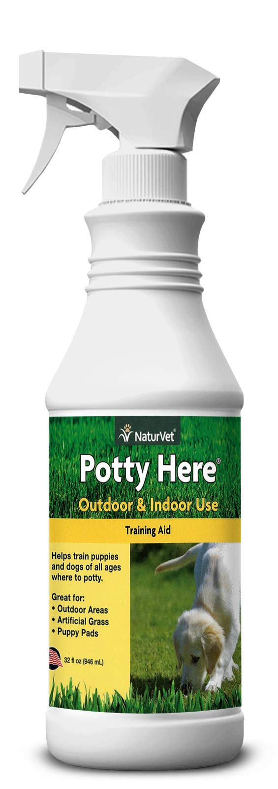 NaturVet - Potty Here Training Aid Spray - Attractive Scent Helps Train Puppies & Dogs Where to Potty - Formulated for Indoor & Outdoor Use - 32 oz by NaturVet