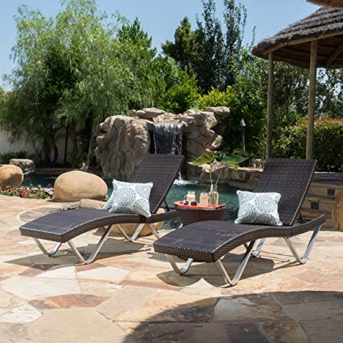 Christopher Knight Home San Marco Chaise Lounge Chair and Table, 3-Pcs Set, Multibrown