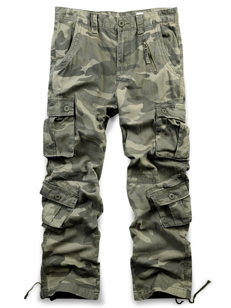 Jessie Kidden Men's Cotton Cargo Trousers Loose Hiking Multi-Pocket Pants with 8 Pockets #7533 7533-CK