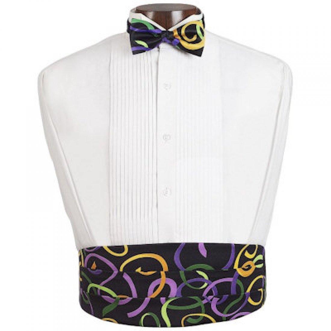 Mardi Gras Fat Tuesday Tuxedo Cummerbund and Bow Tie 9000