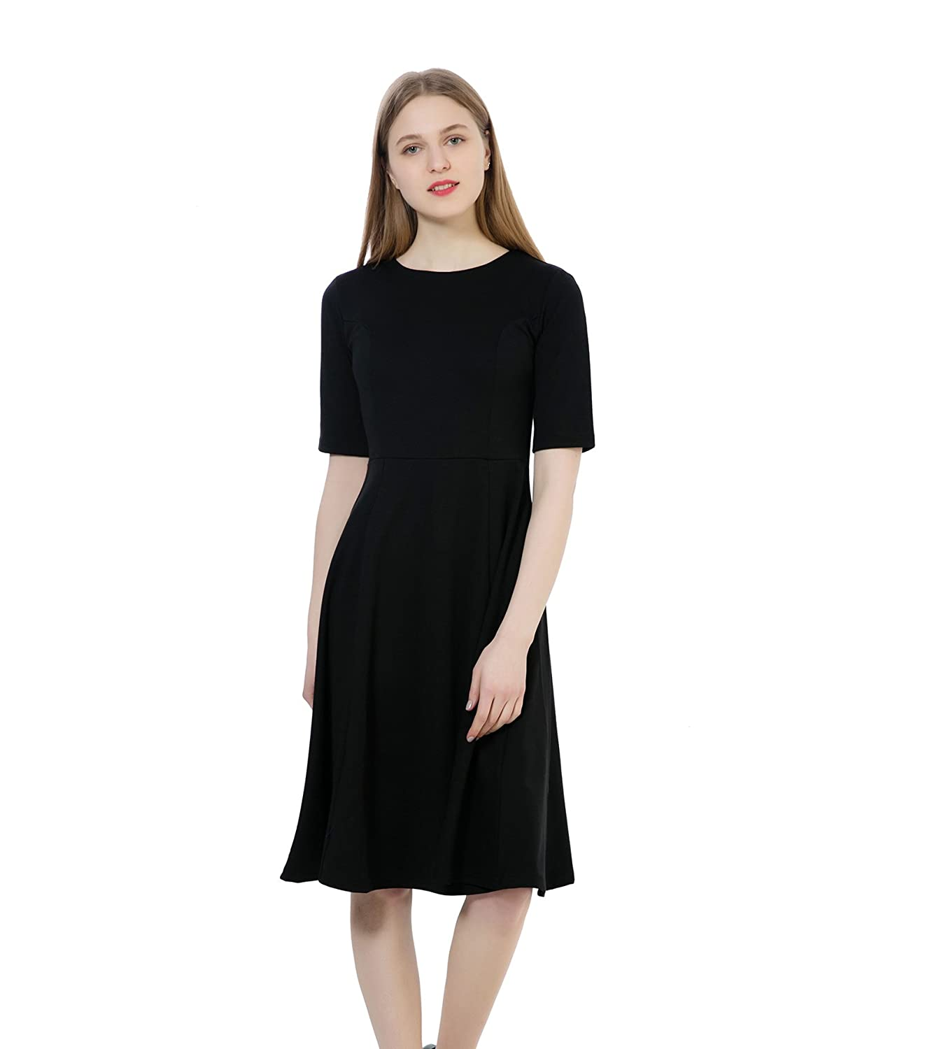 70dd3d589a0 Comfortable and Breathable With Good Elastic. Skin-friendly. Elegant Fit  and A Line Dress features  Round Neck