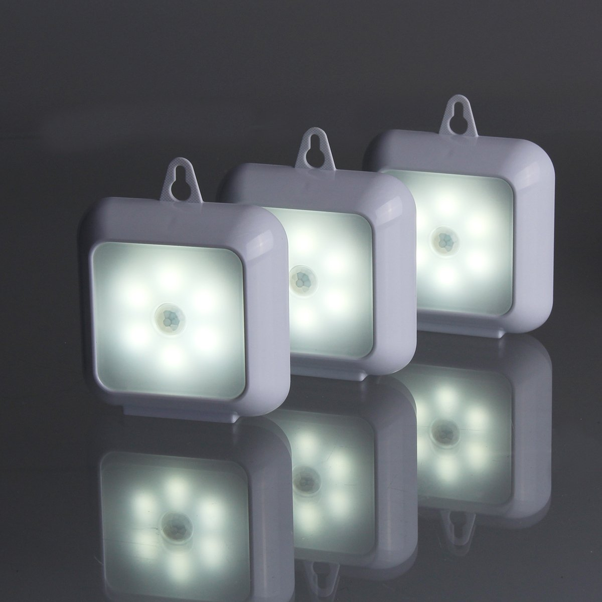 Luz LED Sensor Movimiento,Elfeland® 6 LED Lámpara Nocturna Automática Luz de Pared Cuadrado Luz Nocturna Inalámbrica para Armario Pasillo Escaleras ...