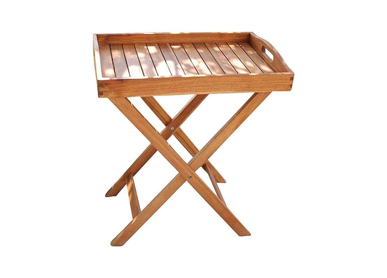 SAM® Acacia de madera bandeja Luigi, certificación FSC® 100%, Camarera con varias geschliffener superficie, de madera maciza, patas plegables, ...