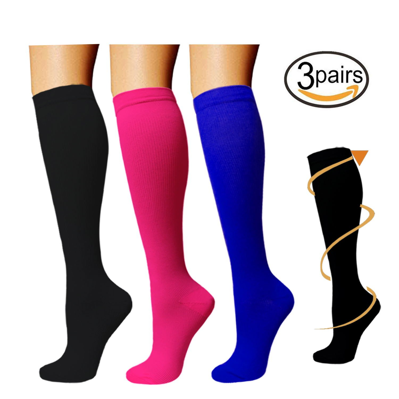 3 Pairs Knee High Graduated Compression Socks For Women and Men - Best Medical, Nursing, Travel & Flight Socks - Running & Fitness - 15-20mmHg Assort1) GYW3SX