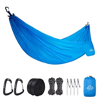 GOAUS Camping Hammock,Portable Hammock with Tree Straps,Multifunctional Waterpoorf Ripstop Lightweight Outdoor Hammock for Backpacking Hiking Camping Travel Beach Yard,Single Use: Sports & Outdoors