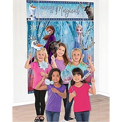 """Amscan Nature Is Magical Frozen 2 Birthday, Party Scene Setter with Props, 75"""" x 64"""", 17 Ct, Multicolor: Toys & Games"""