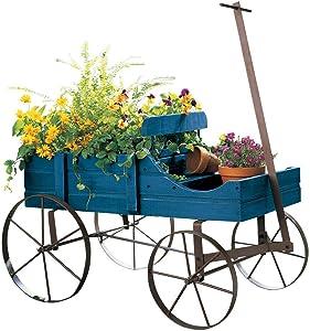 Briskly41 Planter Wagon Amish Decorative Indoor Outdoor Garden Backyard (Blue)