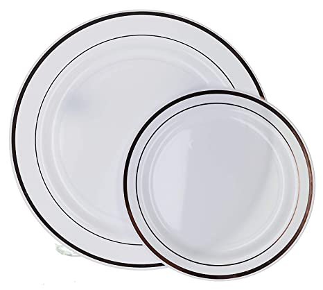 Silver Trim Disposable Plastic Plates Porcelain Like Design Feel Premium Heavy Duty Decorative Plasticware For Wedding Thanksgiving