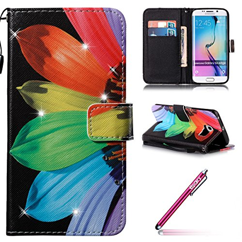 Hülle für Samsung Galaxy S6 Edge,Galaxy S6 Edge Schutzhülle,Galaxy S6 Edge Handyhülle Lederhülle,Hpory Luxus Bling Kristall Glitzer Strass Diamant Colorful Painting PU Leather Ledertasche Lederhülle B Bunte Sonnenblume