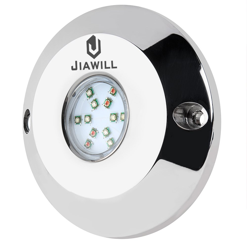 Jiawill 1 X 60W RGB CREE LED Underwater boat light,Surface Mount,Musical Control,Overheat Protection (1 light without controller) by Jiawill