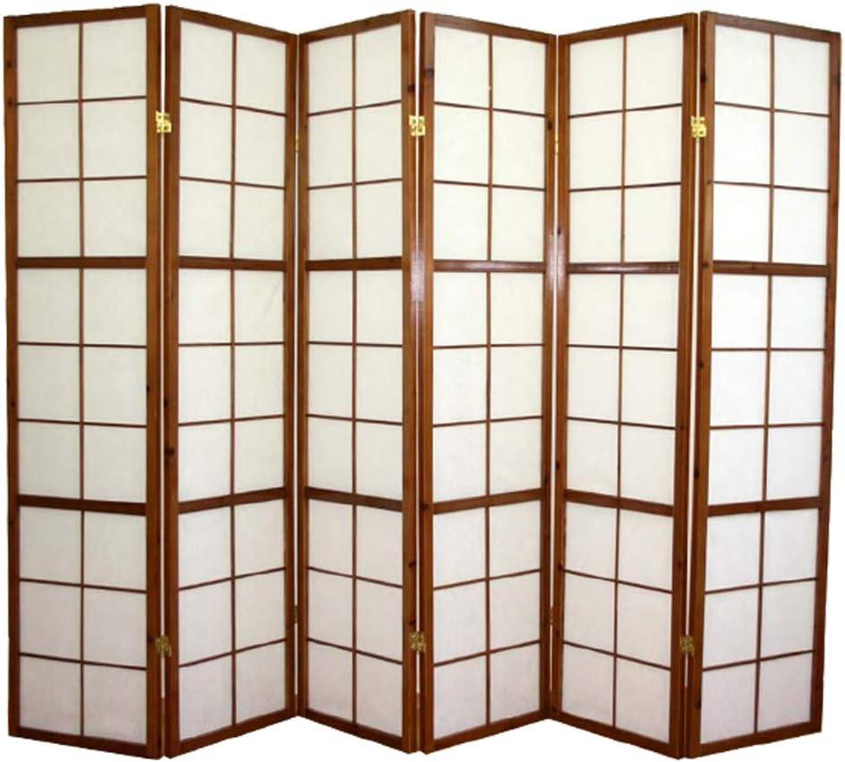 PEGANE Paravento giapponese Shoji in legno marrone scuro di 6 pannelli