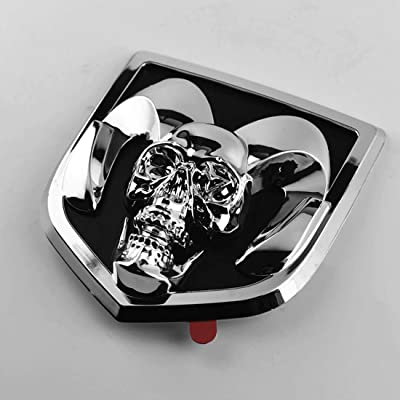 Custom Car Tailgate Emblem for RAM 1500 2010-2020 3D Skull External Decoration Replaces 68218155AA (Silver): Computers & Accessories